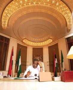 President-Jonathan-Behind-His-Desk-Working